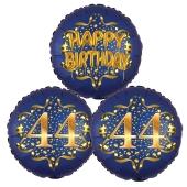 Satin Navy & Gold 44 Happy Birthday, Luftballons aus Folie zum 44. Geburtstag, inklusive Helium