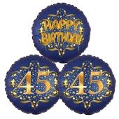 Satin Navy & Gold 45 Happy Birthday, Luftballons aus Folie zum 45. Geburtstag, inklusive Helium
