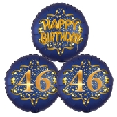 Satin Navy & Gold 46 Happy Birthday, Luftballons aus Folie zum 46. Geburtstag, inklusive Helium