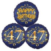 Satin Navy & Gold 47 Happy Birthday, Luftballons aus Folie zum 47. Geburtstag, inklusive Helium