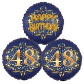 Satin Navy & Gold 48 Happy Birthday, Luftballons aus Folie zum 48. Geburtstag, inklusive Helium