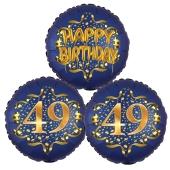 Satin Navy & Gold 49 Happy Birthday, Luftballons aus Folie zum 49. Geburtstag, inklusive Helium