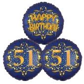 Satin Navy & Gold 51 Happy Birthday, Luftballons aus Folie zum 51. Geburtstag, inklusive Helium