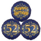 Satin Navy & Gold 52 Happy Birthday, Luftballons aus Folie zum 52. Geburtstag, inklusive Helium