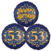 Satin Navy & Gold 53 Happy Birthday, Luftballons aus Folie zum 53. Geburtstag, inklusive Helium