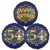 Satin Navy & Gold 54 Happy Birthday, Luftballons aus Folie zum 54. Geburtstag, inklusive Helium