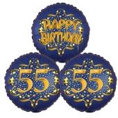 Satin Navy & Gold 55 Happy Birthday, Luftballons aus Folie zum 55. Geburtstag, inklusive Helium