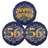 Satin Navy & Gold 56 Happy Birthday, Luftballons aus Folie zum 56. Geburtstag, inklusive Helium