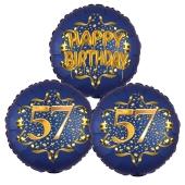Satin Navy & Gold 57 Happy Birthday, Luftballons aus Folie zum 57. Geburtstag, inklusive Helium