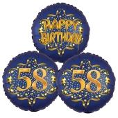 Satin Navy & Gold 58 Happy Birthday, Luftballons aus Folie zum 58. Geburtstag, inklusive Helium