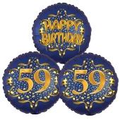 Satin Navy & Gold 59 Happy Birthday, Luftballons aus Folie zum 59. Geburtstag, inklusive Helium