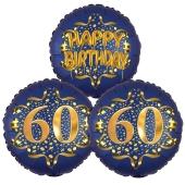 Satin Navy & Gold 60 Happy Birthday, Luftballons aus Folie zum 60. Geburtstag, inklusive Helium