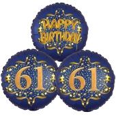 Satin Navy & Gold 61 Happy Birthday, Luftballons aus Folie zum 61. Geburtstag, inklusive Helium