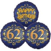 Satin Navy & Gold 62 Happy Birthday, Luftballons aus Folie zum 62. Geburtstag, inklusive Helium