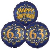 Satin Navy & Gold 63 Happy Birthday, Luftballons aus Folie zum 63. Geburtstag, inklusive Helium