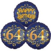 Satin Navy & Gold 64 Happy Birthday, Luftballons aus Folie zum 64. Geburtstag, inklusive Helium