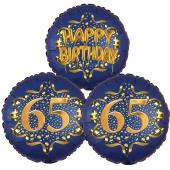 Satin Navy & Gold 65 Happy Birthday, Luftballons aus Folie zum 65. Geburtstag, inklusive Helium
