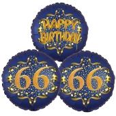 Satin Navy & Gold 66 Happy Birthday, Luftballons aus Folie zum 66. Geburtstag, inklusive Helium