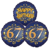 Satin Navy & Gold 67 Happy Birthday, Luftballons aus Folie zum 67. Geburtstag, inklusive Helium