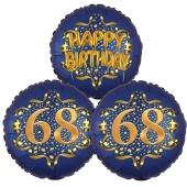 Satin Navy & Gold 68 Happy Birthday, Luftballons aus Folie zum 68. Geburtstag, inklusive Helium