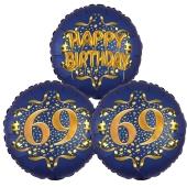 Satin Navy & Gold 69 Happy Birthday, Luftballons aus Folie zum 69. Geburtstag, inklusive Helium