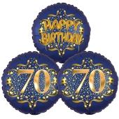 Satin Navy & Gold 70 Happy Birthday, Luftballons aus Folie zum 70. Geburtstag, inklusive Helium