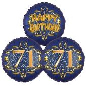 Satin Navy & Gold 71 Happy Birthday, Luftballons aus Folie zum 71. Geburtstag, inklusive Helium