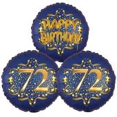 Satin Navy & Gold 72 Happy Birthday, Luftballons aus Folie zum 72. Geburtstag, inklusive Helium