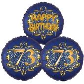 Satin Navy & Gold 73 Happy Birthday, Luftballons aus Folie zum 73. Geburtstag, inklusive Helium