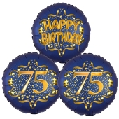Satin Navy & Gold 75 Happy Birthday, Luftballons aus Folie zum 75. Geburtstag, inklusive Helium