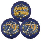 Satin Navy & Gold 79 Happy Birthday, Luftballons aus Folie zum 79. Geburtstag, inklusive Helium