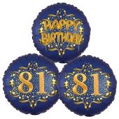 Satin Navy & Gold 81 Happy Birthday, Luftballons aus Folie zum 81. Geburtstag, inklusive Helium