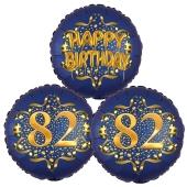 Satin Navy & Gold 82 Happy Birthday, Luftballons aus Folie zum 82. Geburtstag, inklusive Helium