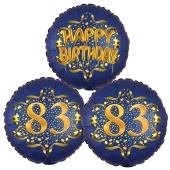 Satin Navy & Gold 83 Happy Birthday, Luftballons aus Folie zum 83. Geburtstag, inklusive Helium