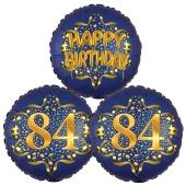 Satin Navy & Gold 84 Happy Birthday, Luftballons aus Folie zum 84. Geburtstag, inklusive Helium