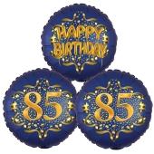 Satin Navy & Gold 85 Happy Birthday, Luftballons aus Folie zum 85. Geburtstag, inklusive Helium