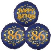 Satin Navy & Gold 86 Happy Birthday, Luftballons aus Folie zum 86. Geburtstag, inklusive Helium