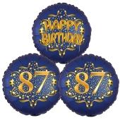 Satin Navy & Gold 87 Happy Birthday, Luftballons aus Folie zum 87. Geburtstag, inklusive Helium