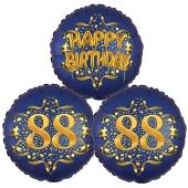 Satin Navy & Gold 88 Happy Birthday, Luftballons aus Folie zum 88. Geburtstag, inklusive Helium