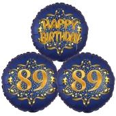 Satin Navy & Gold 89 Happy Birthday, Luftballons aus Folie zum 89. Geburtstag, inklusive Helium