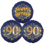 Satin Navy & Gold 90 Happy Birthday, Luftballons aus Folie zum 90. Geburtstag, inklusive Helium