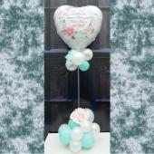 Schön, dass es Dich gibt! Beste Mama der Welt! Ballondekoration und Tischdekoration zum Muttertag mit weißem Herzluftballon