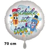 Schule ist cool. Luftballon aus Folie, 70 cm, inklusive Helium, Satin de Luxe, weiß