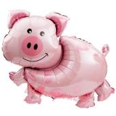 Schweinchen Folien-Luftballon, ungefüllt