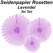 Große Seidenpapier Rosetten, lavendel, 3 Stück-Set