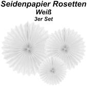 Große Seidenpapier Rosetten, weiß, 3 Stück-Set