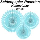 Stilvolle Seidenpapier Rosetten, himmelblau, 3 Stück-Set