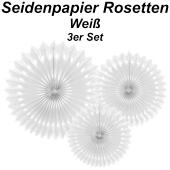 Stilvolle Seidenpapier Rosetten, weiß, 3 Stück-Set