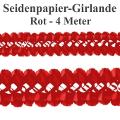 Seidenpapier-Girlande Rot, 4 Meter