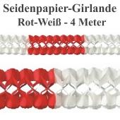 Seidenpapier-Girlande Rot-Weiß, 4 Meter